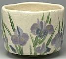 Shiro-raku Tea Bowl With Iris Made By Rakunyu
