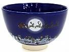 Kyoyaki Tea Bowl With Santa Claus In Ruri